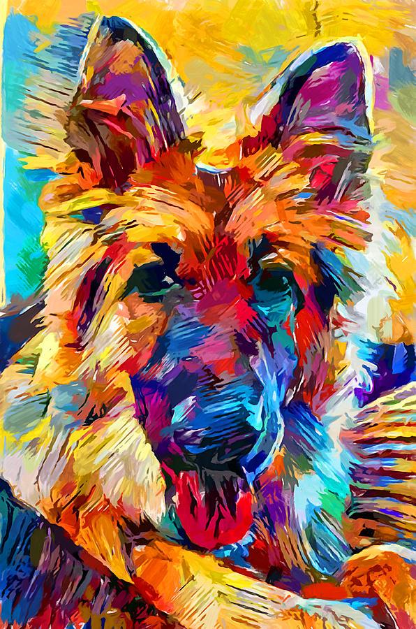 Dog Painting - German Shepherd 6 by Chris Butler