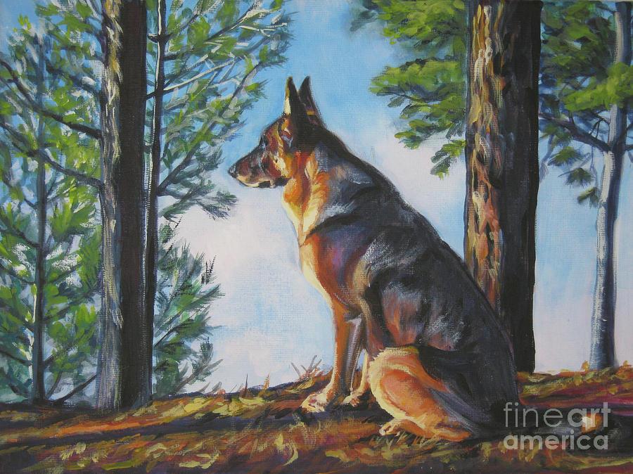 German Shepherd Painting - German Shepherd Lookout by Lee Ann Shepard
