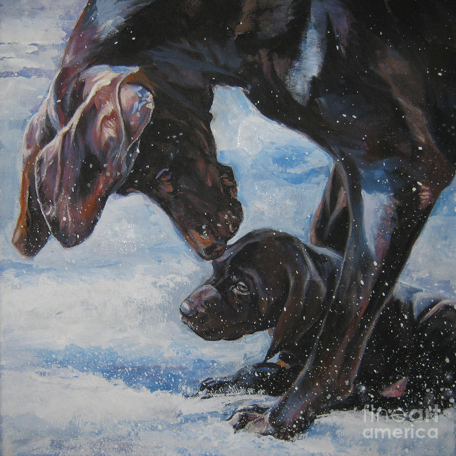 German Shorthaired Pointer And Puppy Painting by Lee Ann Shepard
