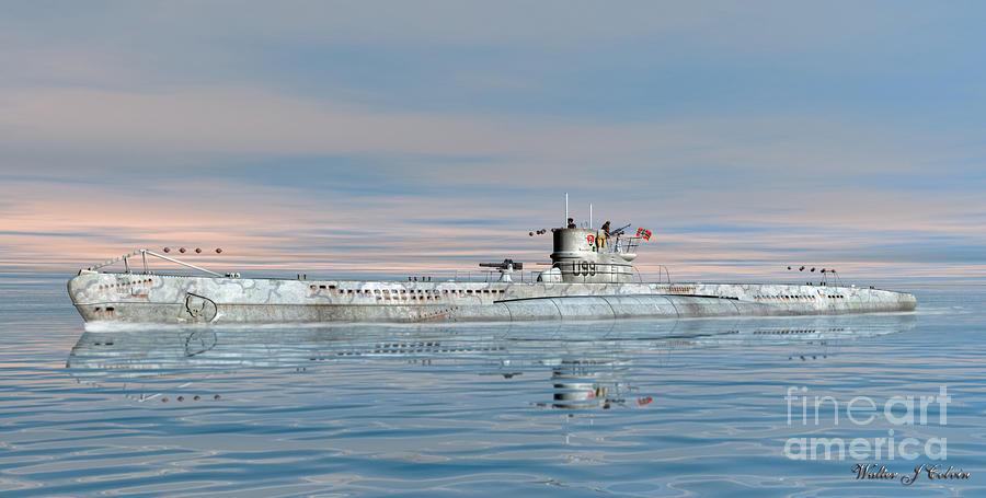 German Navy Digital Art - German submarine U-99 by Walter Colvin