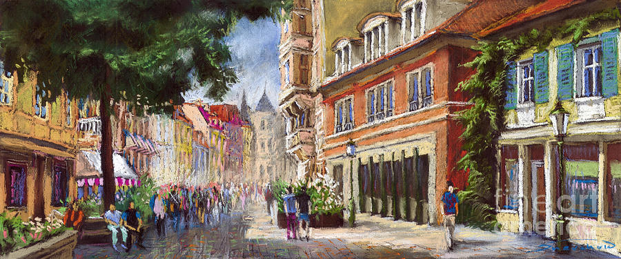 Pastel Painting - Germany Baden-baden Lange Str by Yuriy Shevchuk