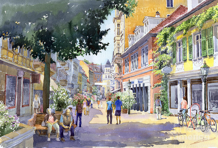 Architecture Painting - Germany Baden-baden Lange Strasse by Yuriy  Shevchuk