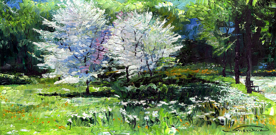 Oil Painting - Germany Baden-baden Spring 2 by Yuriy  Shevchuk