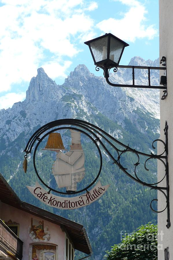 Bavarian Alps Photograph - Germany - Cafe Sign by Carol Groenen
