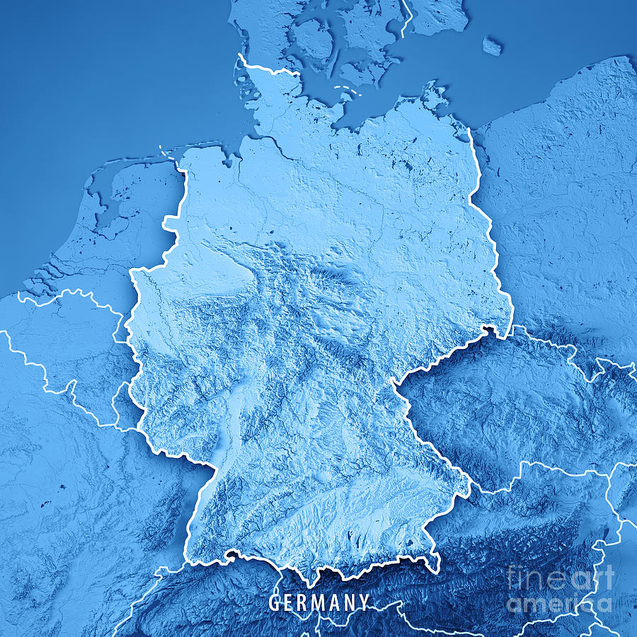 Germany Country 3d Render Topographic Map Blue Border Digital Art ...