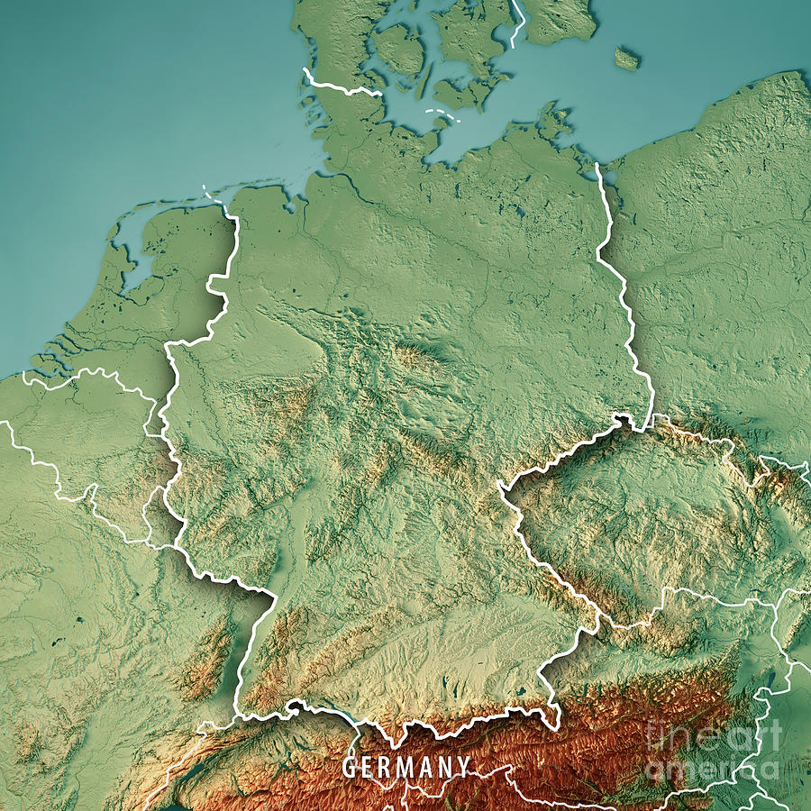Germany Country 3d Render Topographic Map Border Digital Art by