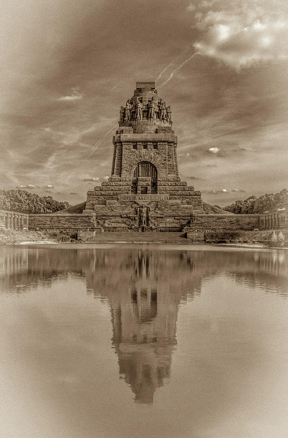 Leipzig Photograph - Germany - Monument To The Battle Of The Nations In Leipzig, Saxony, In Sepia by Ina Kratzsch