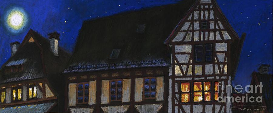 Pastel Painting - Germany Ulm Fischer Viertel Moonroofs by Yuriy  Shevchuk