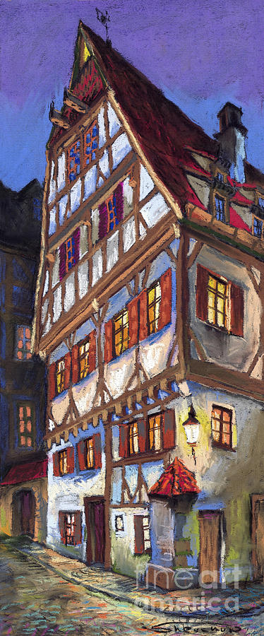 Pastel Painting - Germany Ulm Old Street by Yuriy Shevchuk
