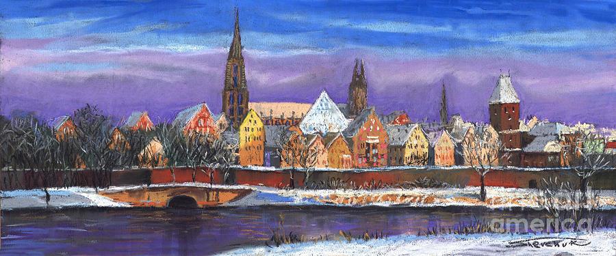 Pastel Painting - Germany Ulm Panorama Winter by Yuriy  Shevchuk