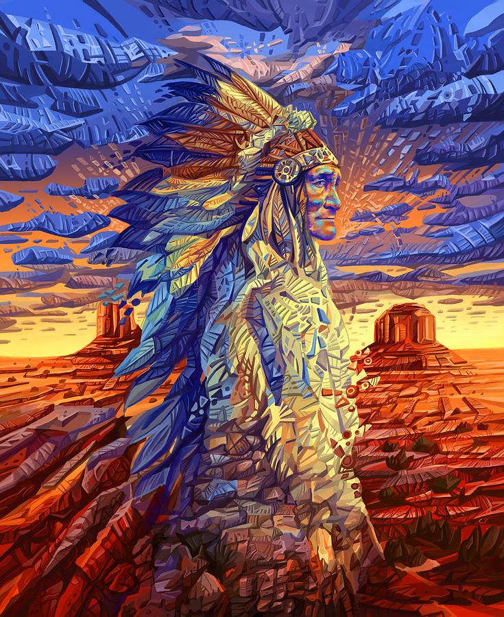 Manitoba Native Plants: Geronimo Decorative Portrait Painting By Bekim Art