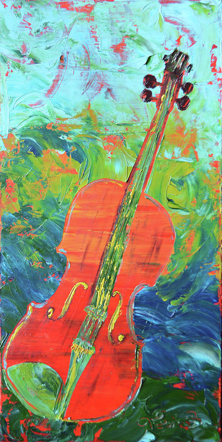 Orange Painting - Gerrys Violin by Lee Bauman