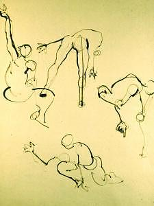 Bamboo Brush Drawing - Gesture Drawing Number 04a by Denise Urban