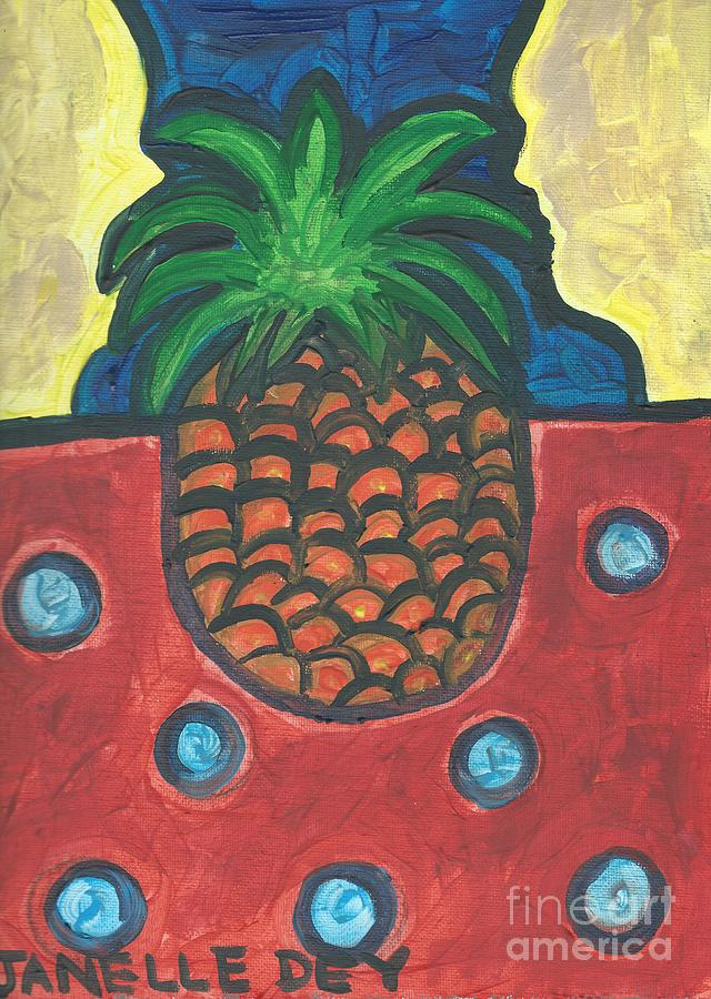 Pineapple Painting - Get Over Yourself by Janelle Dey