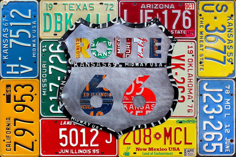Get Your Kicks Mixed Media - Get Your Kicks On Route 66 Recycled Vintage State License Plate Art By Design Turnpike by Design Turnpike