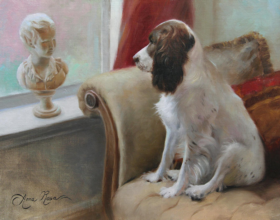 Dog Painting - Getting Acquainted by Anna Rose Bain