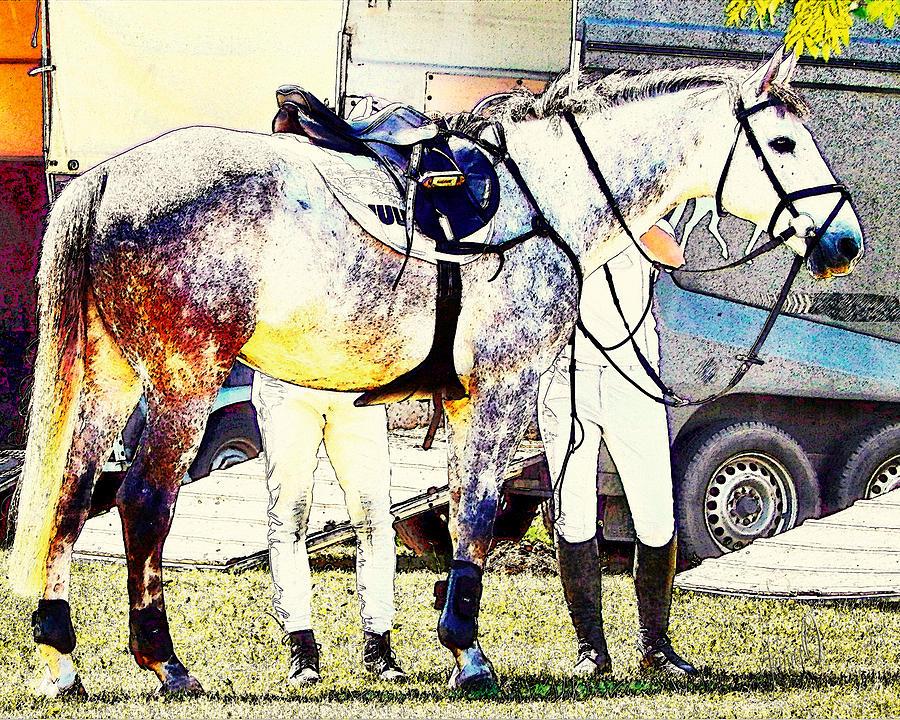 Equestrian Digital Art - Getting Ready by Janice OConnor