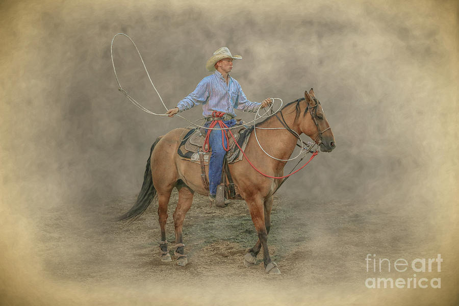 Bucking Bronco Digital Art - Getting Ready Rodeo Calf Roping by Randy Steele