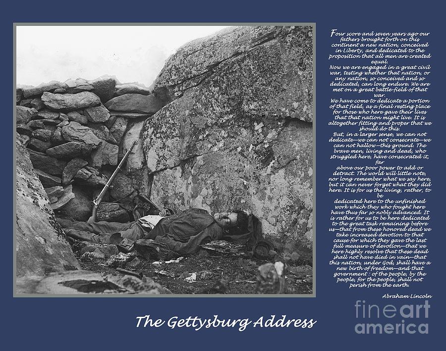 Gettysburg Digital Art - Gettysburg Address Civil War Devils Den by Randy Steele