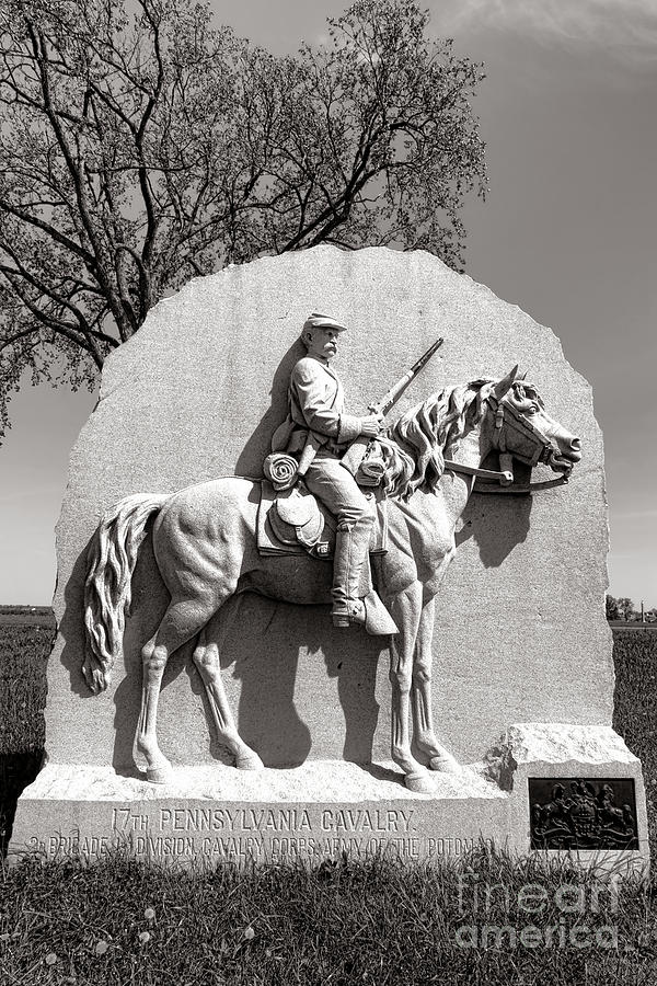 Gettysburg Photograph - Gettysburg National Park 17th Pennsylvania Cavalry Monument by Olivier Le Queinec
