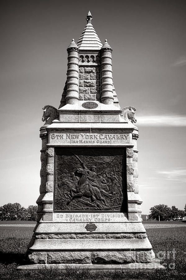 Gettysburg Photograph - Gettysburg National Park 6th New York Cavalry Monument by Olivier Le Queinec