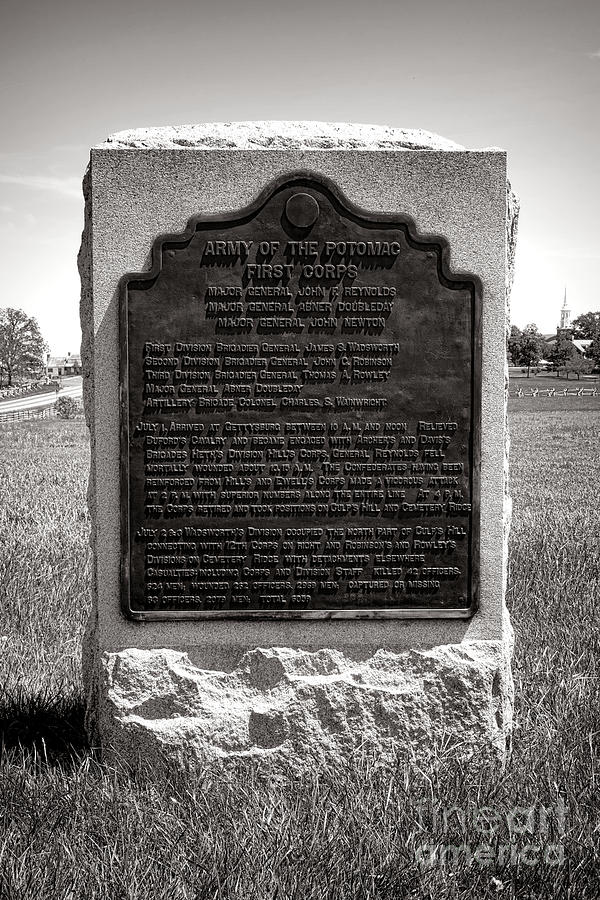 Gettysburg Photograph - Gettysburg National Park Army Of The Potomac First Corps Monument by Olivier Le Queinec