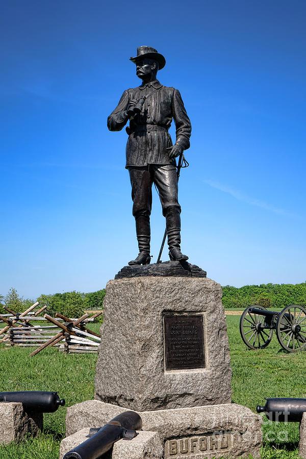 Gettysburg Photograph - Gettysburg National Park Major General John Buford Memorial by Olivier Le Queinec