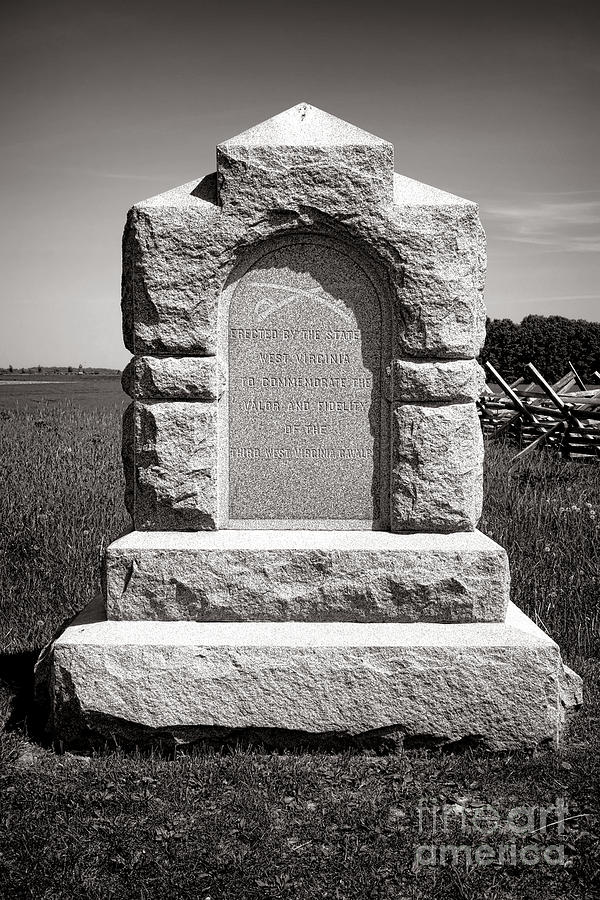 Gettysburg Photograph - Gettysburg National Park Third West Virginia Cavalry Monument by Olivier Le Queinec