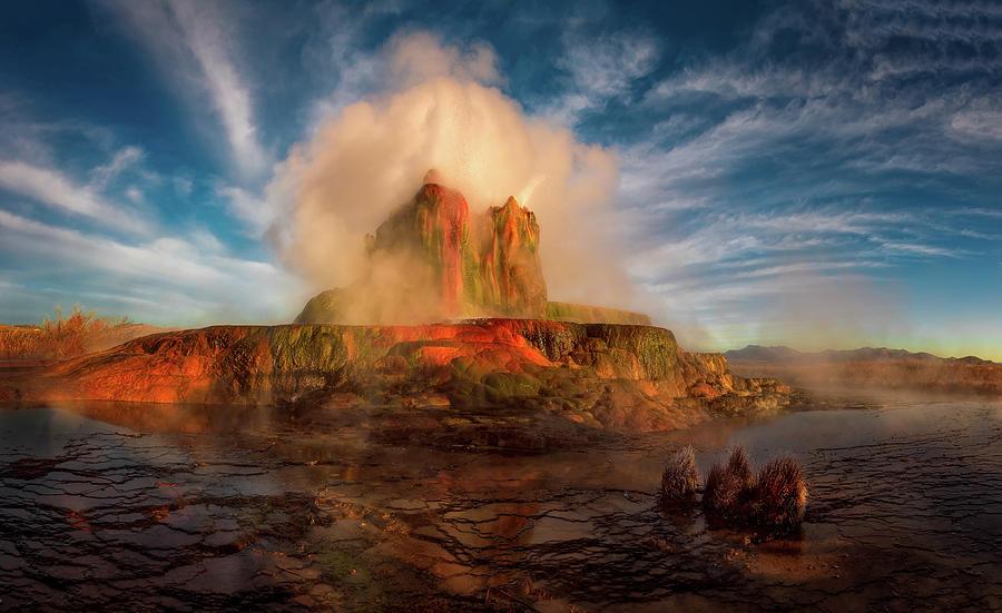Geyser Steams at Dawn by Dave Koch