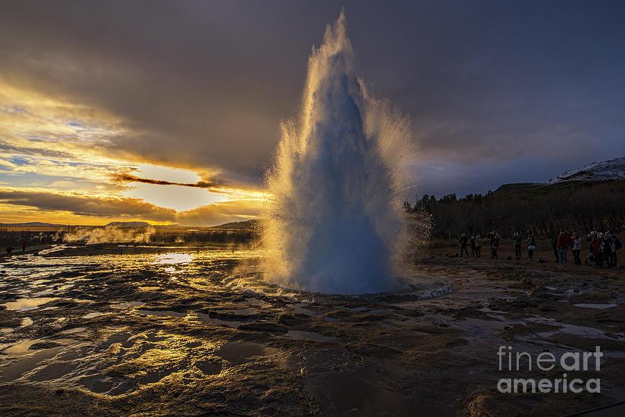 Geysir Sunset Iceland Photograph
