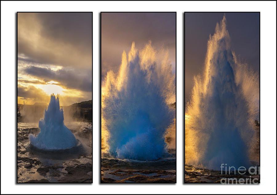 Geysir Triptych Iceland Photograph