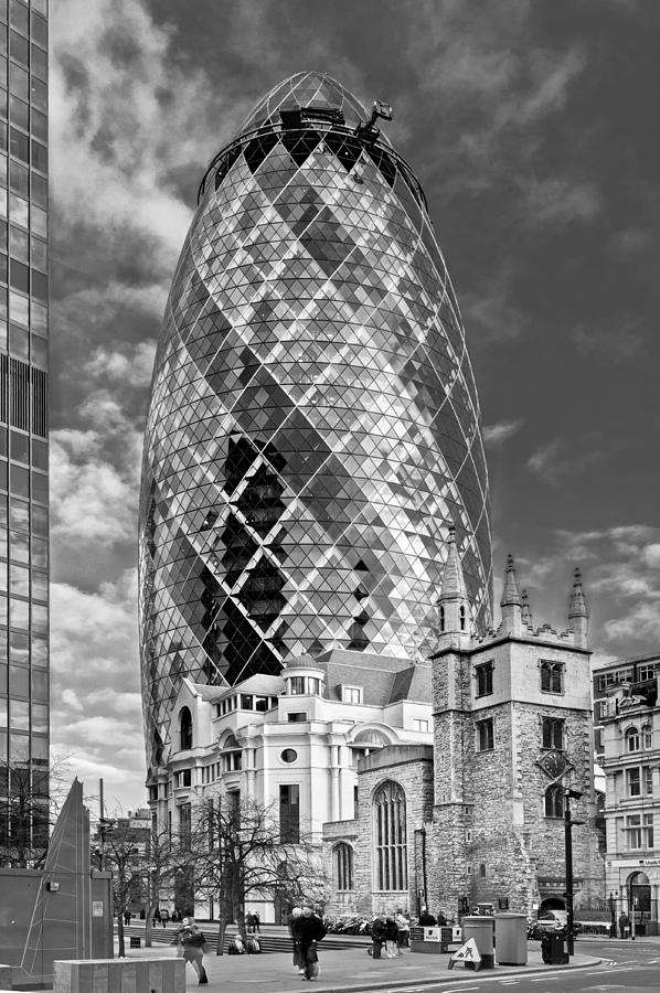 City Of London Photograph - Gherkin And St Andrews Black And White by Gary Eason
