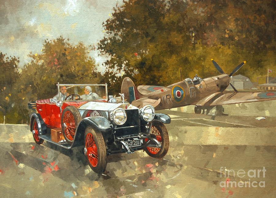 Car Painting - Ghost And Spitfire  by Peter Miller