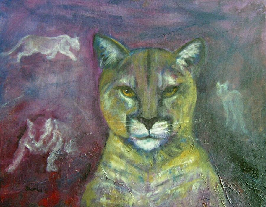 Wildlife Painting - Ghost Cat by Darla Joy  Johnson