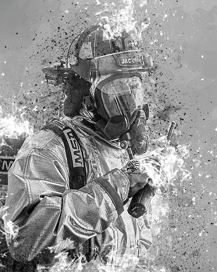 Firefighter Mixed Media - Ghost Flames by Melissa Smith