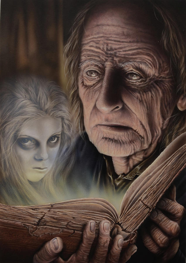 Airbrush Painting - Ghost In The Book by Robert Haasdijk