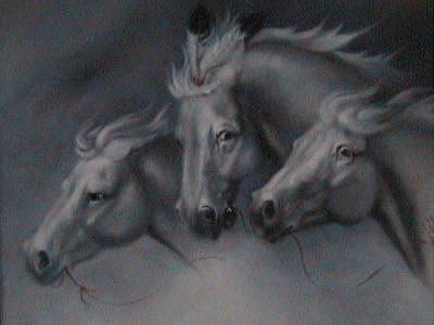 Horses Painting - Ghost Riders by Gordon Sage