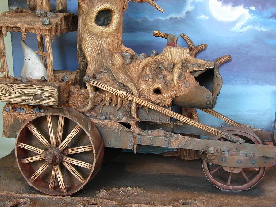 Halloween Sculpture - Ghost Tractor-closeup View by Stuart Swartz