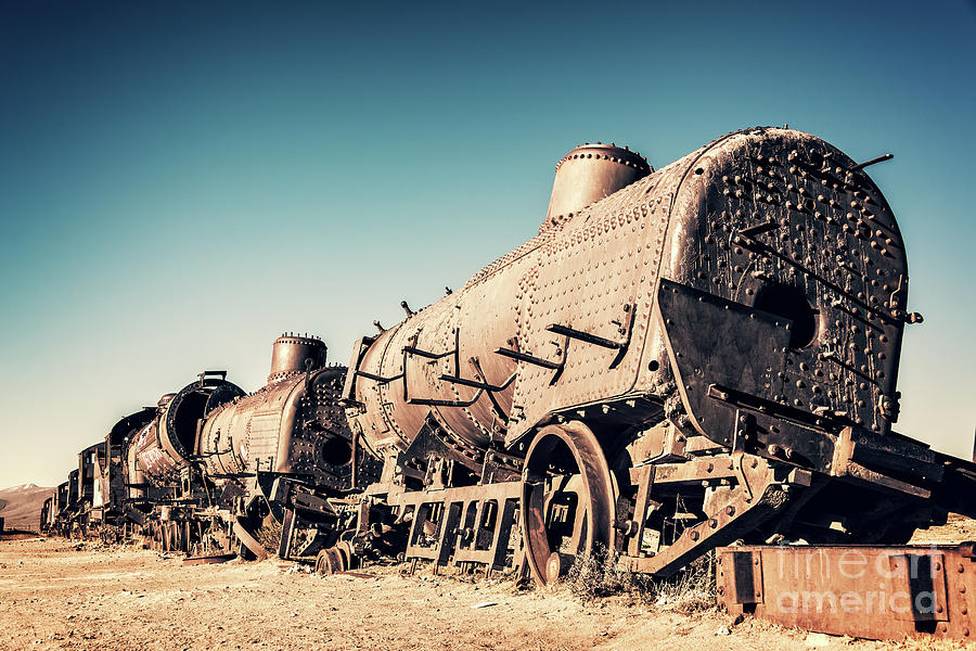 Train Photograph - Ghost Train In Uyuni, Bolivia by Delphimages Photo Creations