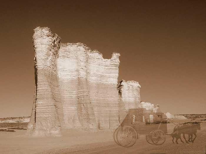 Kansas Photograph - Ghosts On The Butterfield Trail-sepia by Stan Hutchins