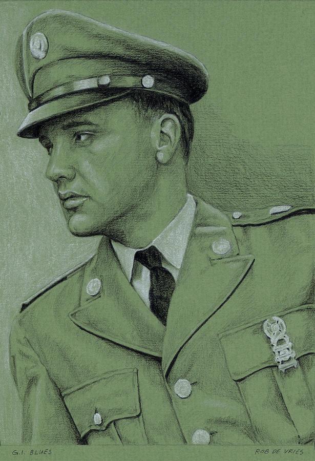 Elvis Drawing - GI Blues by Rob De Vries