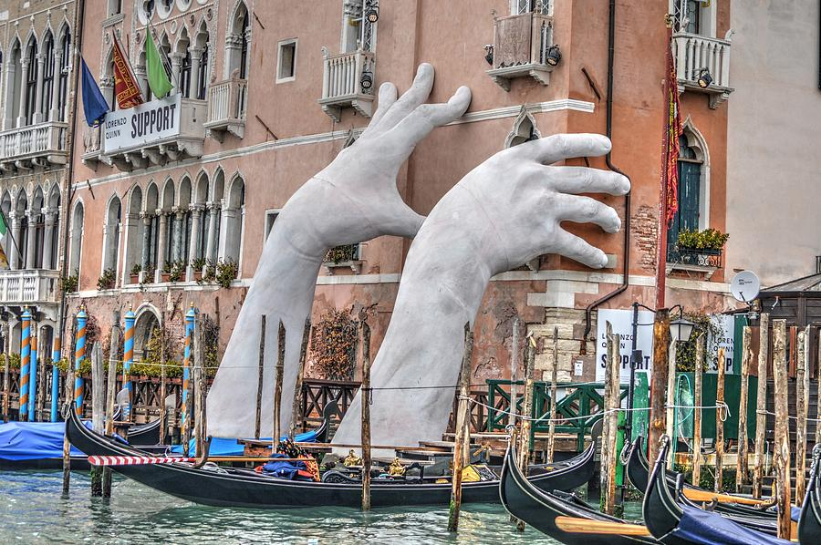 Giant Hands Venice Italy by Bill Hamilton
