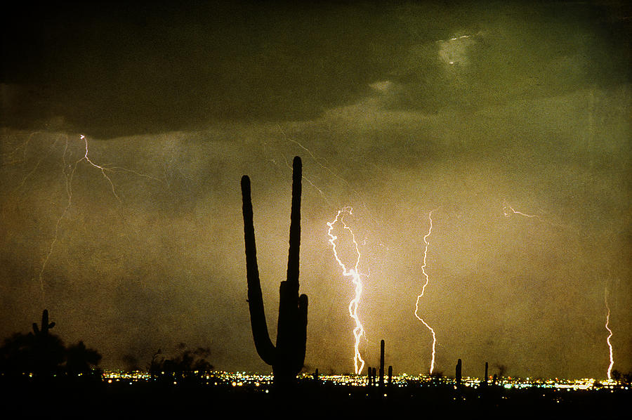 Lightning Photograph - Giant Saguaro Southwest Lightning  Peace Out  by James BO  Insogna