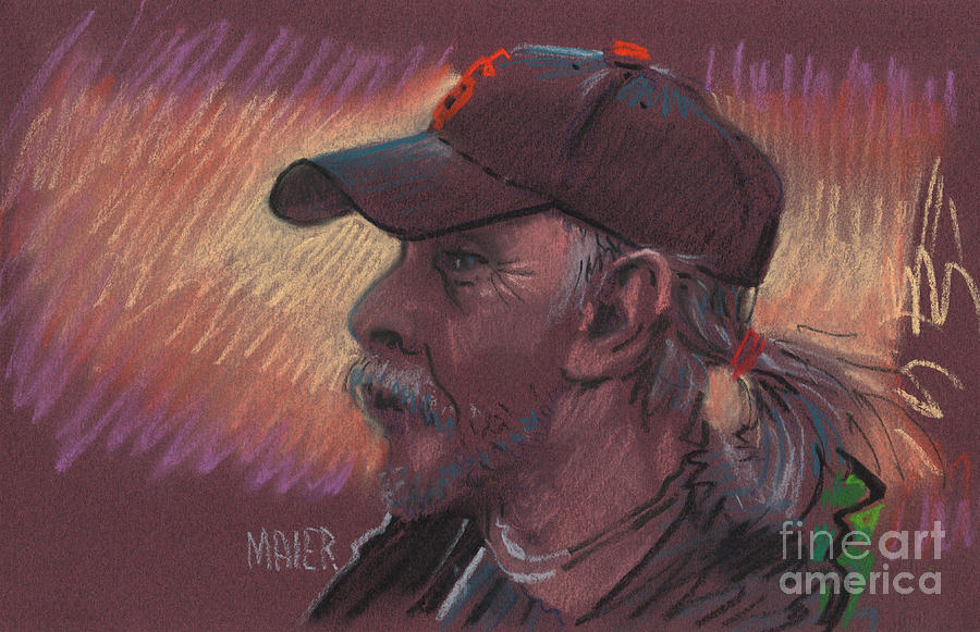 Portrait Drawing - Giants Fan by Donald Maier