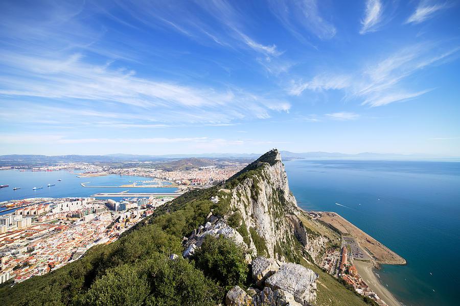 Gibraltar Photograph - Gibraltar Rock Bay And Town by Artur Bogacki