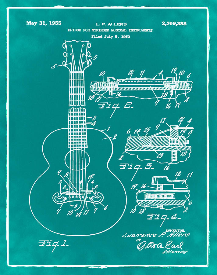 Gibson Acoustic Guitar Patent 1955 Green Photograph By Bill Cannon