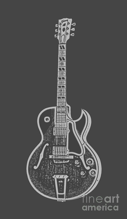 Instrument Digital Art - Gibson ES-175 Electric Guitar Tee by Edward Fielding