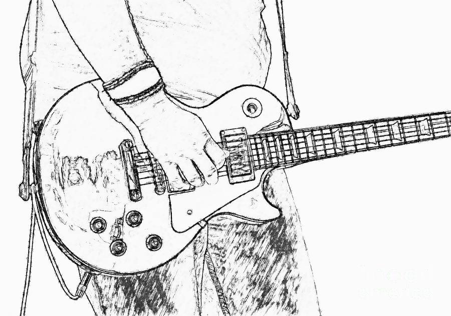 Les Paul Digital Art - Gibson Les Paul Guitar Sketch by Randy Steele