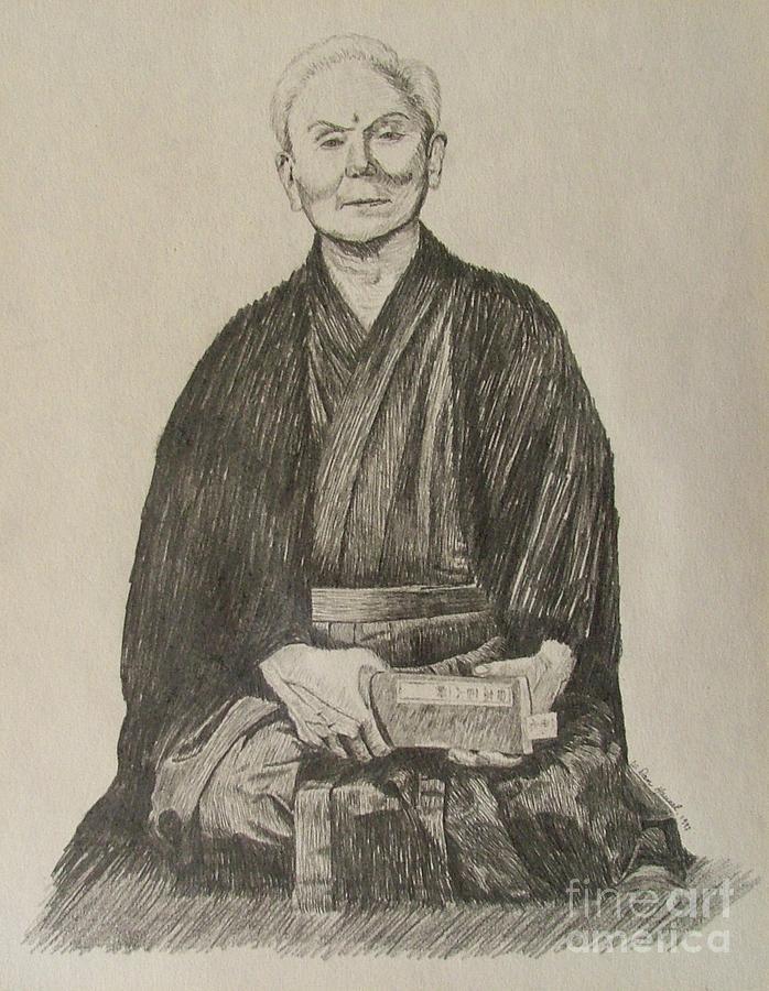Funakoshi Drawing - Gichin Funakoshi by Dan Hausel
