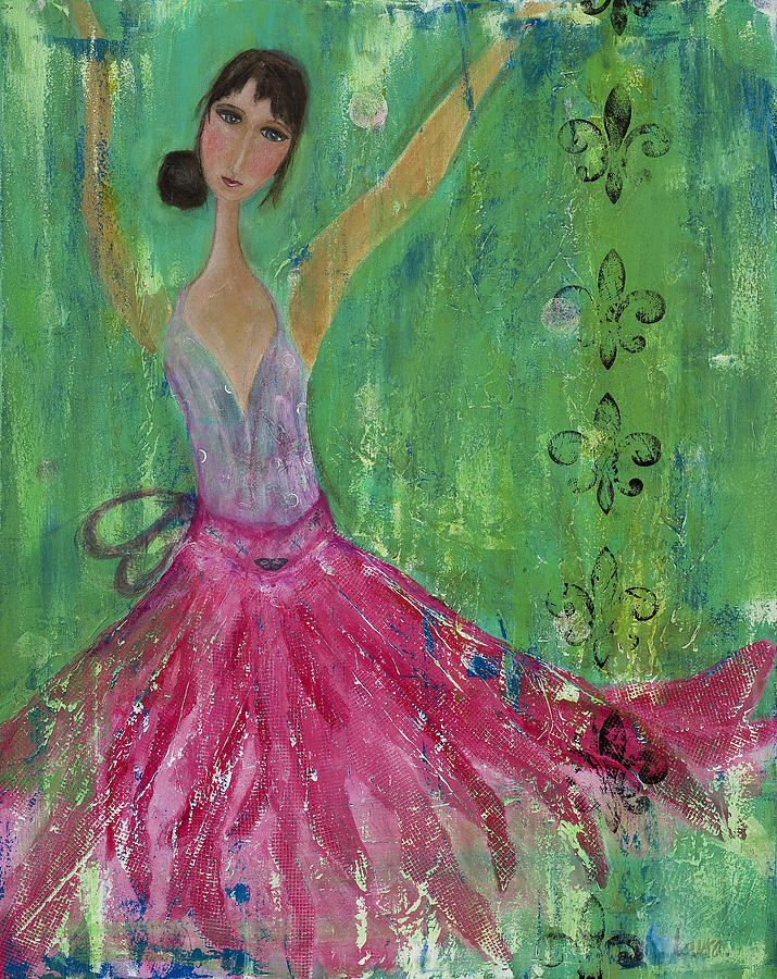 Stylized Mixed Media - Gidget Comes Alive by Laura K Aiken